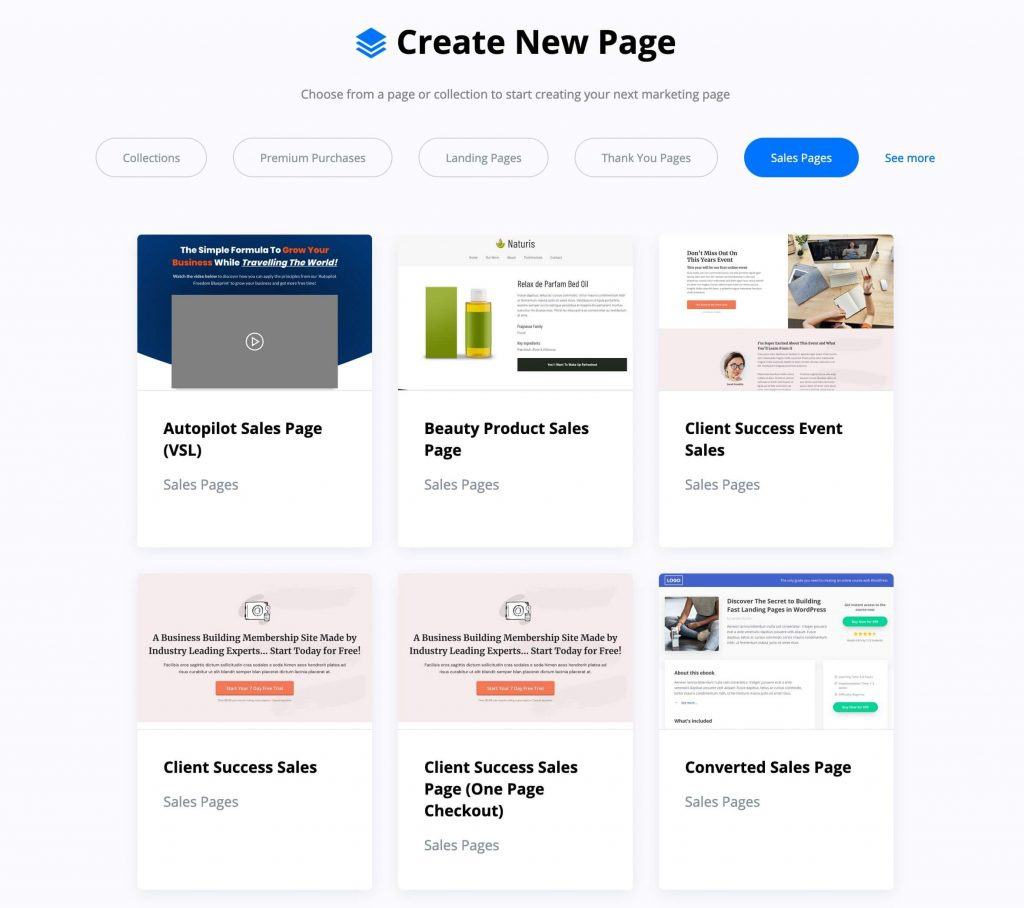 sales page templates included with OptimizePress